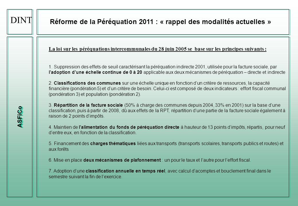 DINT Réforme de la Péréquation 2011 : « rappel des modalités actuelles » ASFiCo.