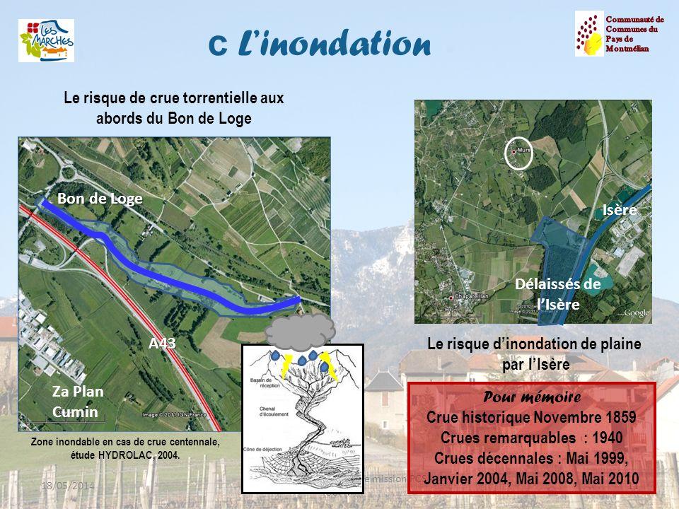 c L'inondation Communauté de. Communes du. Pays de. Montmélian. Le risque de crue torrentielle aux abords du Bon de Loge.