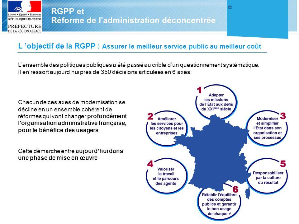 L 'objectif de la RGPP : Assurer le meilleur service public au meilleur coût