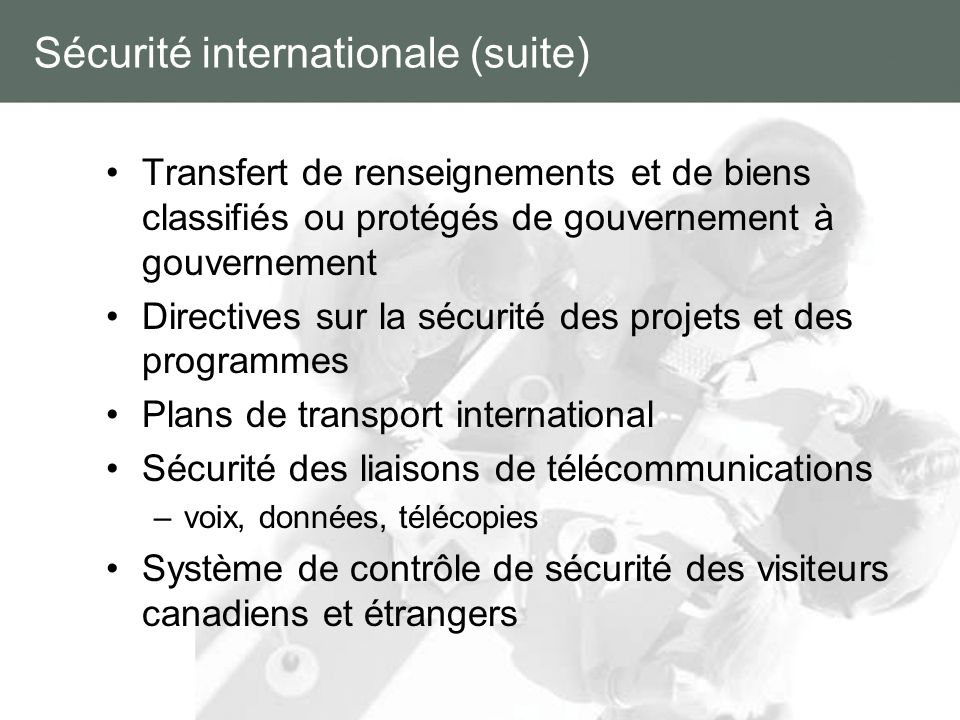 Sécurité internationale (suite)