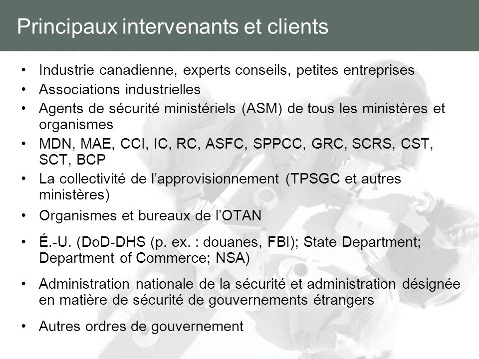 Principaux intervenants et clients