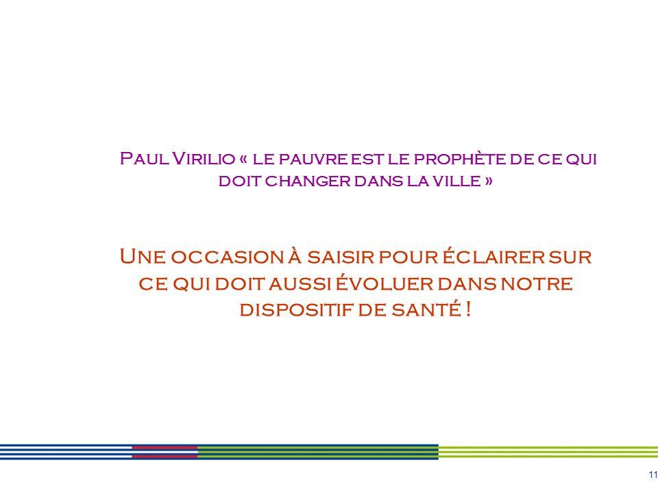 Paul Virilio « le pauvre est le prophète de ce qui doit changer dans la ville » Une occasion à saisir pour éclairer sur ce qui doit aussi évoluer dans notre dispositif de santé !