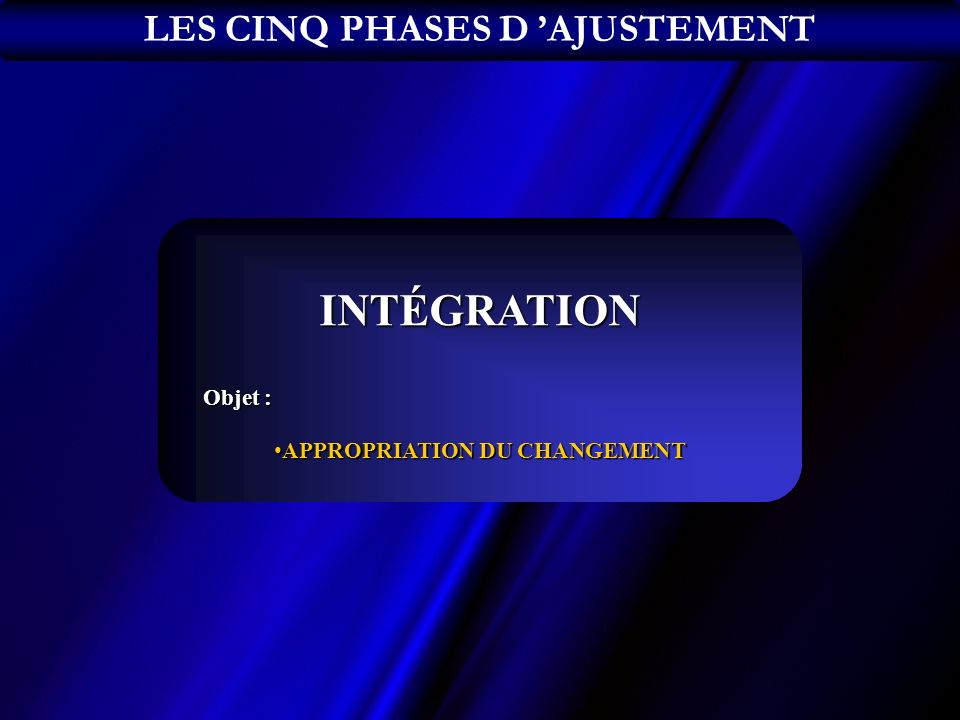 LES CINQ PHASES D 'AJUSTEMENT APPROPRIATION DU CHANGEMENT