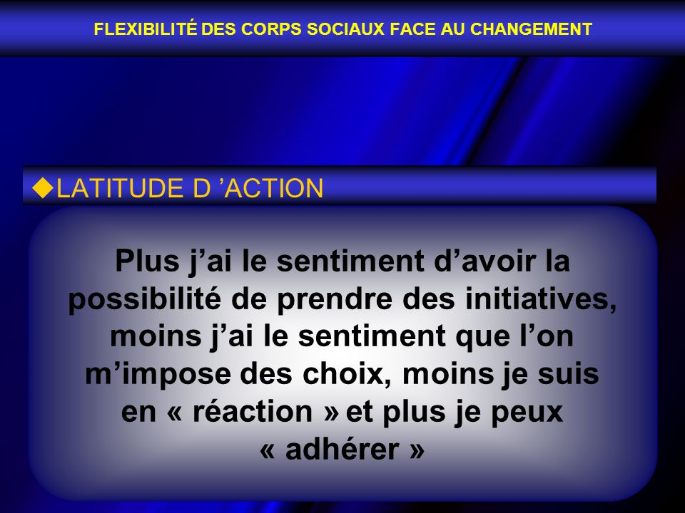 FLEXIBILITÉ DES CORPS SOCIAUX FACE AU CHANGEMENT