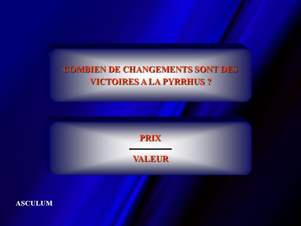 COMBIEN DE CHANGEMENTS SONT DES VICTOIRES A LA PYRRHUS