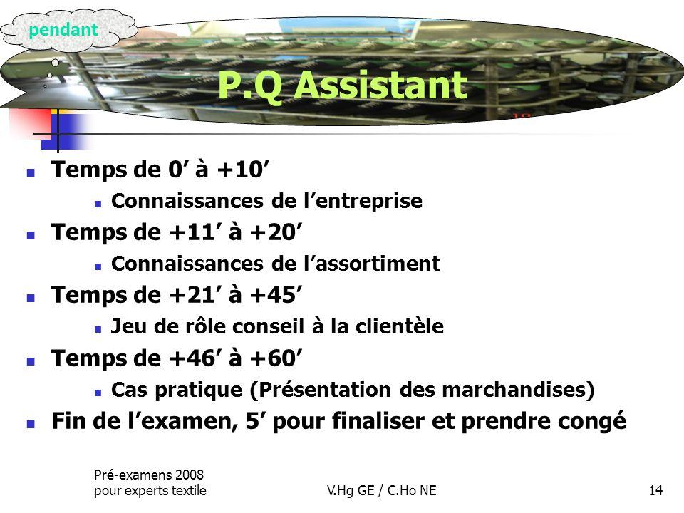 P.Q Assistant Temps de 0' à +10' Temps de +11' à +20'