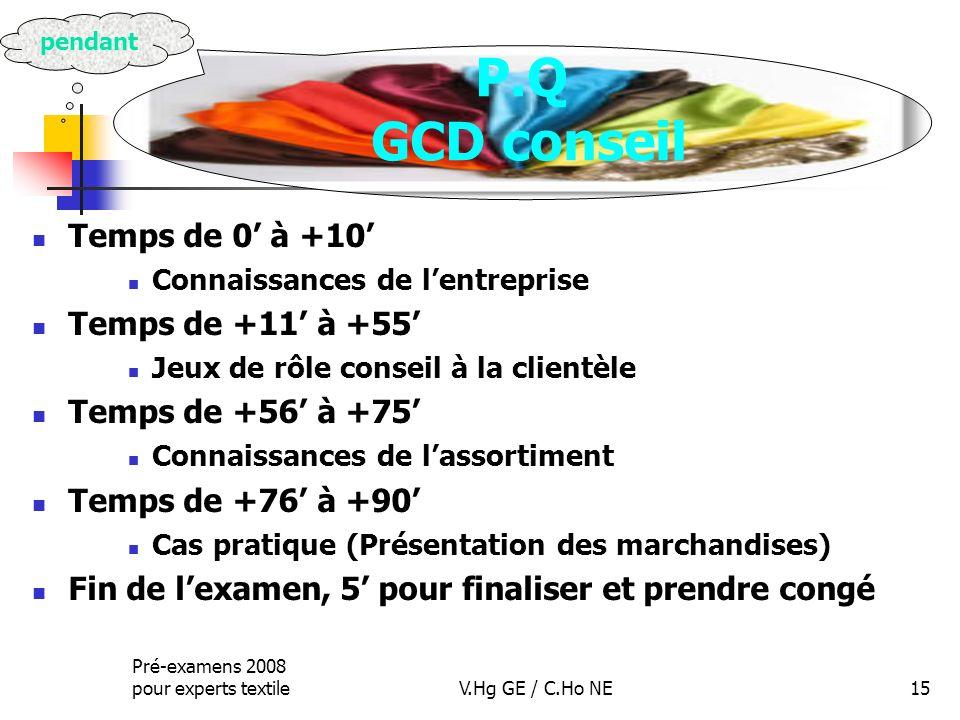 P.Q GCD conseil Temps de 0' à +10' Temps de +11' à +55'