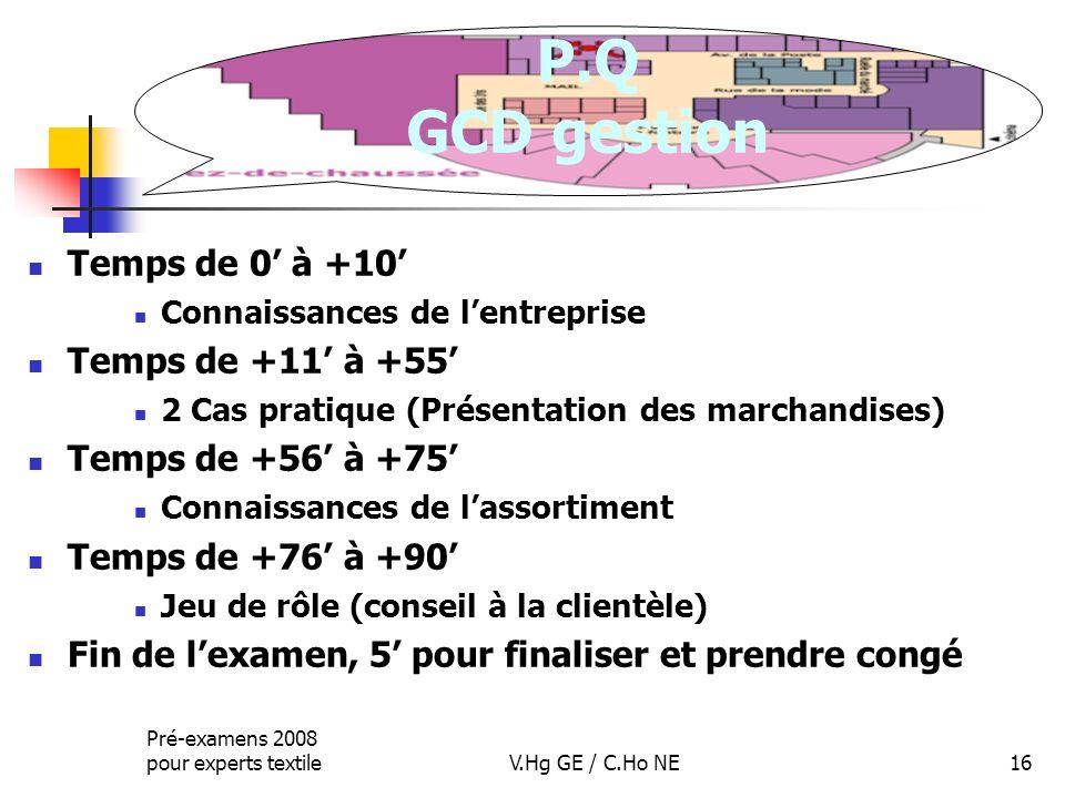 P.Q GCD gestion Temps de 0' à +10' Temps de +11' à +55'