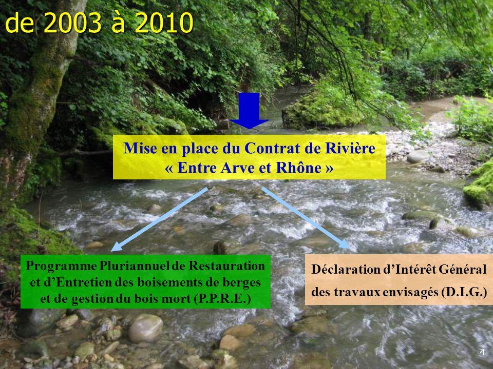 de 2003 à 2010 Mise en place du Contrat de Rivière