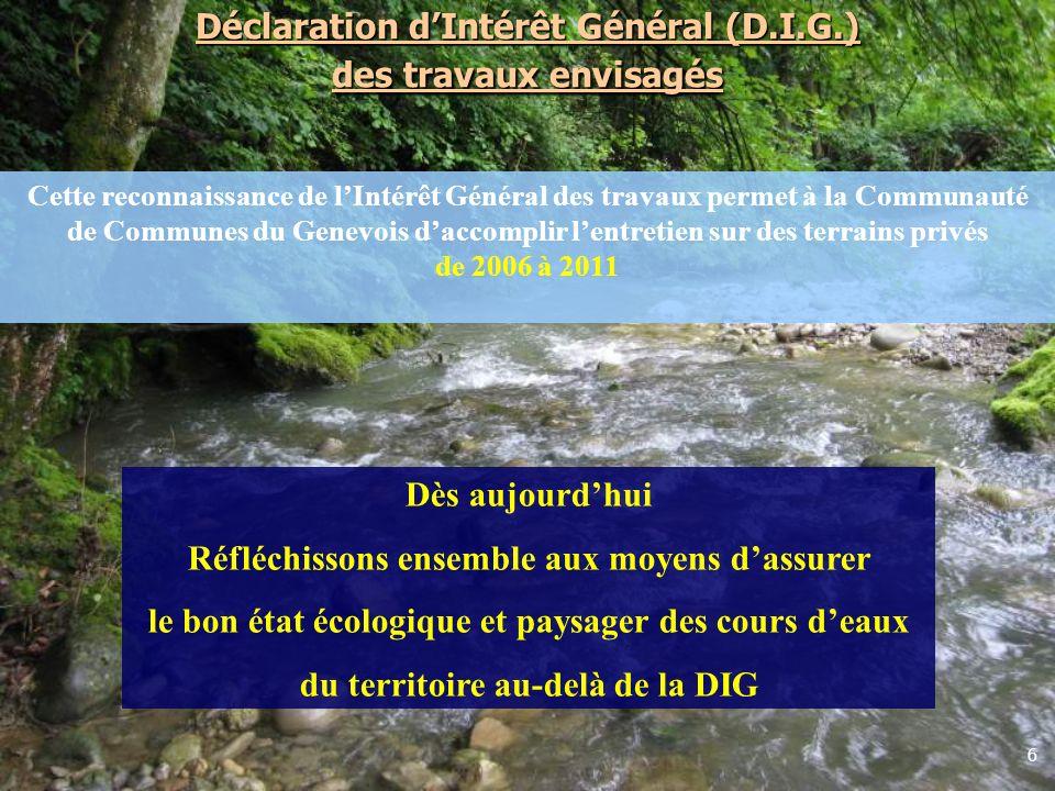 Déclaration d'Intérêt Général (D.I.G.) des travaux envisagés