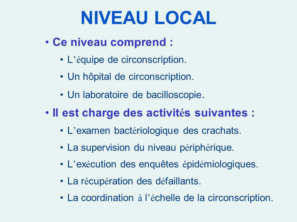 NIVEAU LOCAL Ce niveau comprend :
