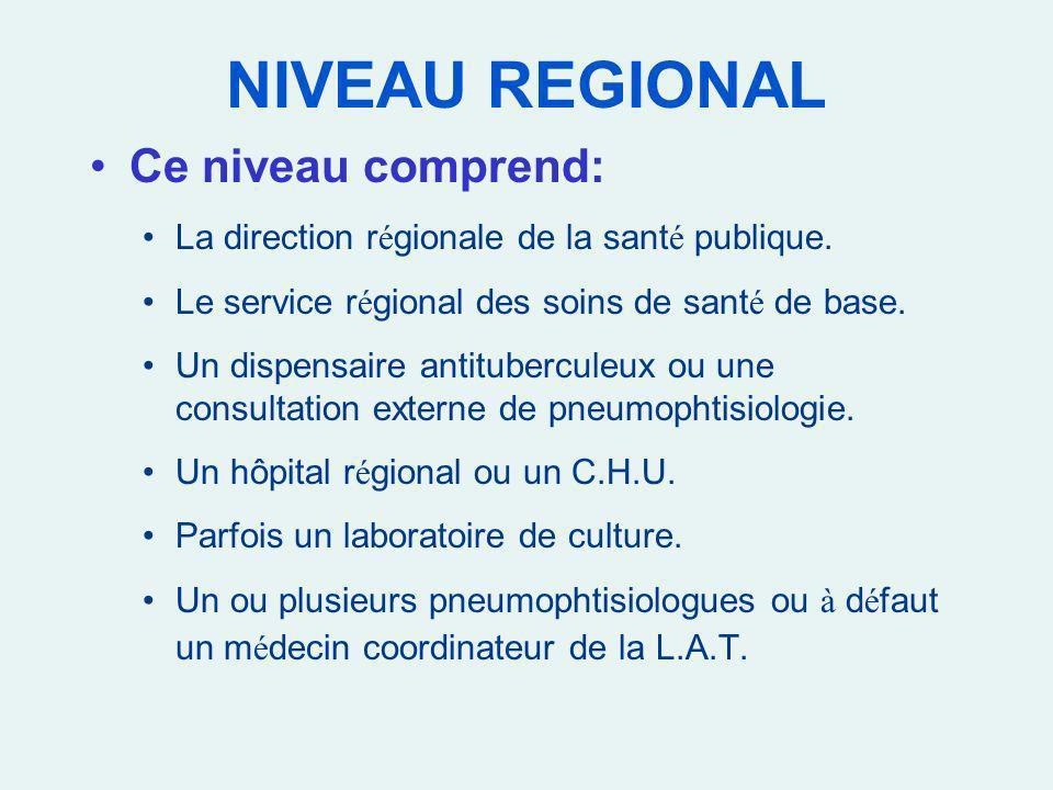 NIVEAU REGIONAL Ce niveau comprend: