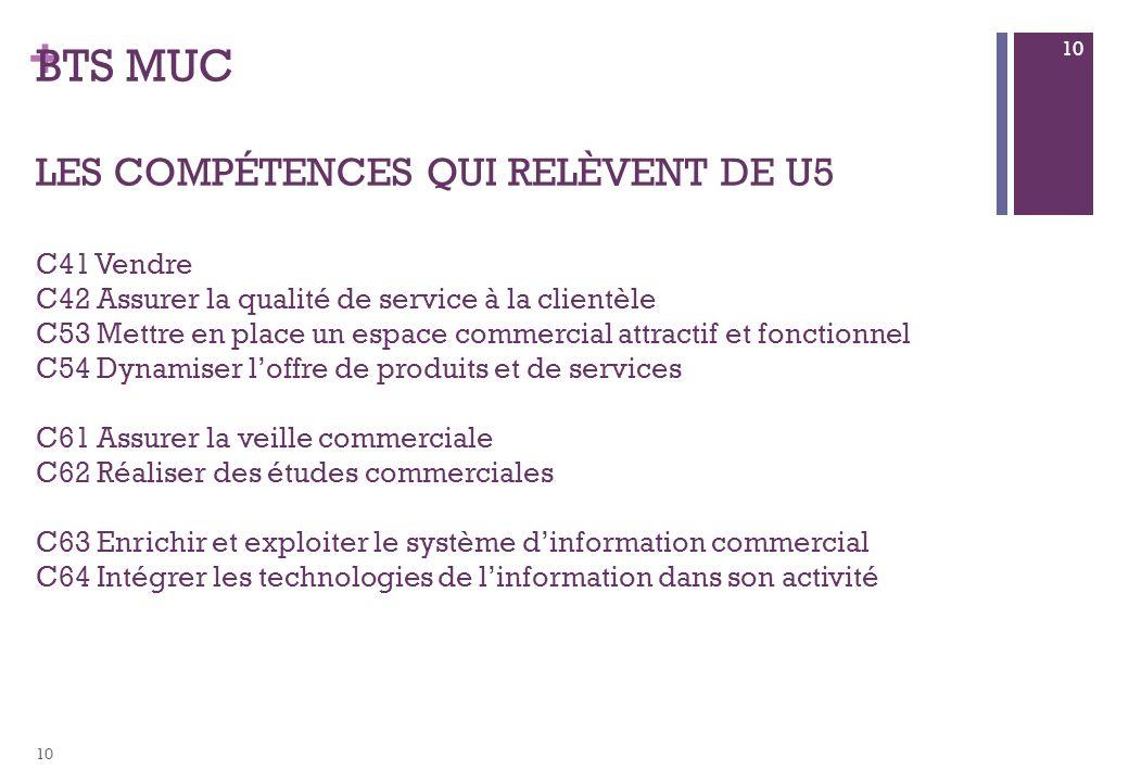 BTS MUC les compétences qui relèvent de U5 C41 Vendre C42 Assurer la qualité de service à la clientèle C53 Mettre en place un espace commercial attractif et fonctionnel C54 Dynamiser l'offre de produits et de services C61 Assurer la veille commerciale C62 Réaliser des études commerciales C63 Enrichir et exploiter le système d'information commercial C64 Intégrer les technologies de l'information dans son activité