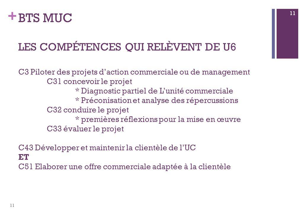 BTS MUC les compétences qui relèvent de U6 C3 Piloter des projets d'action commerciale ou de management C31 concevoir le projet * Diagnostic partiel de L'unité commerciale * Préconisation et analyse des répercussions C32 conduire le projet * premières réflexions pour la mise en œuvre C33 évaluer le projet C43 Développer et maintenir la clientèle de l'UC ET C51 Elaborer une offre commerciale adaptée à la clientèle