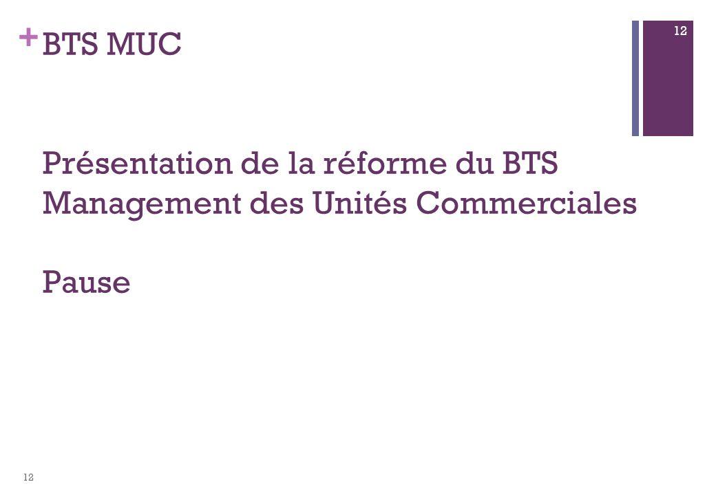 BTS MUC Présentation de la réforme du BTS Management des Unités Commerciales Pause