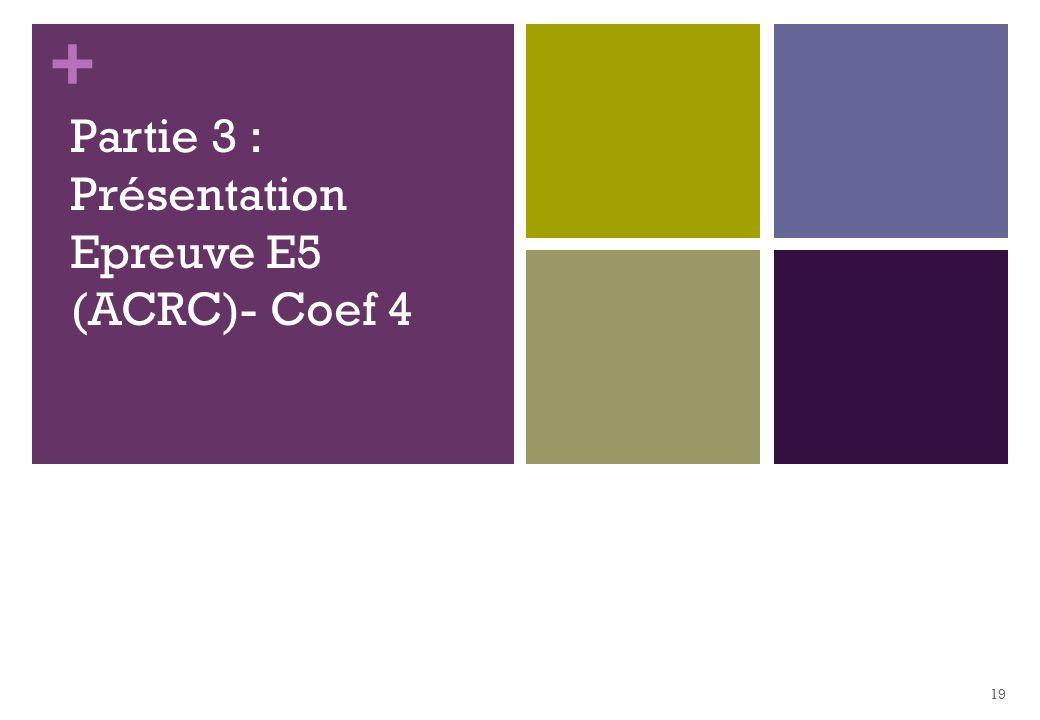 Partie 3 : Présentation Epreuve E5 (ACRC)- Coef 4