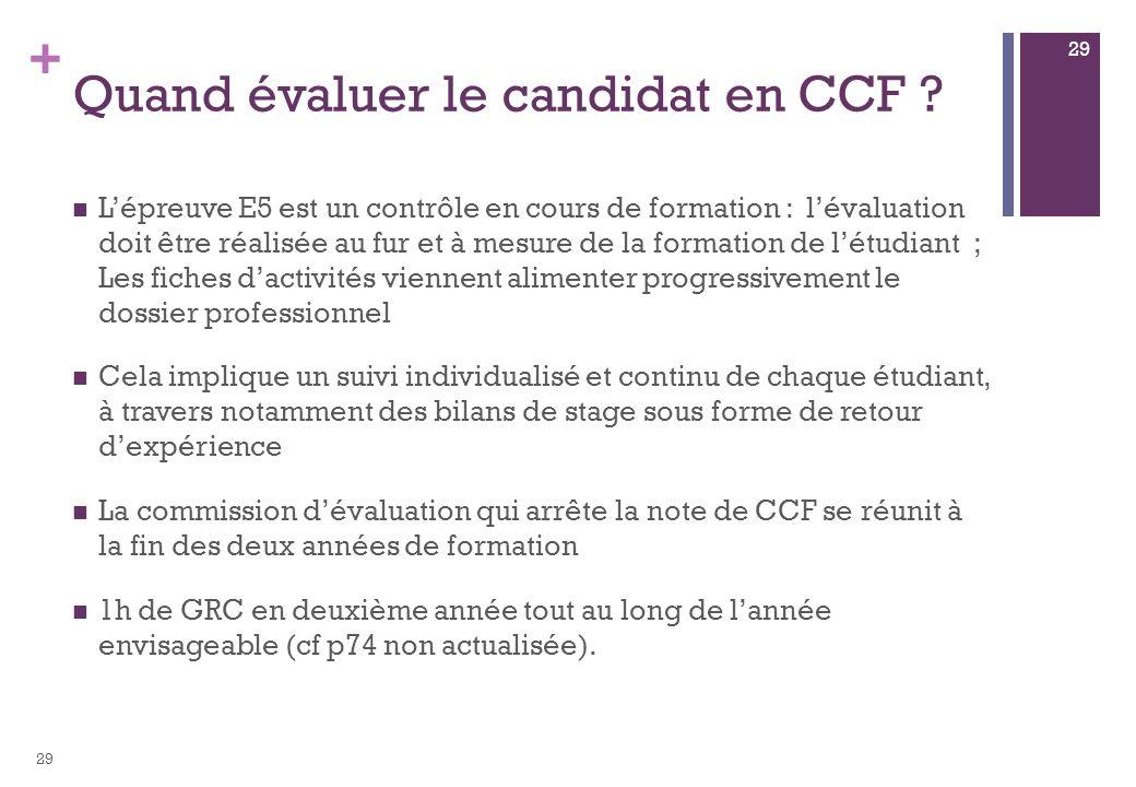 Quand évaluer le candidat en CCF