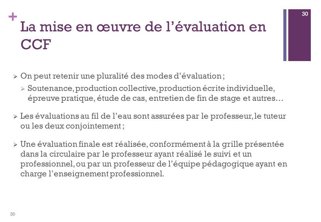 La mise en œuvre de l'évaluation en CCF