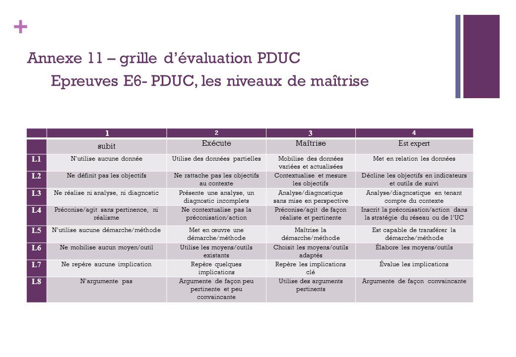 Annexe 11 – grille d'évaluation PDUC Epreuves E6- PDUC, les niveaux de maîtrise