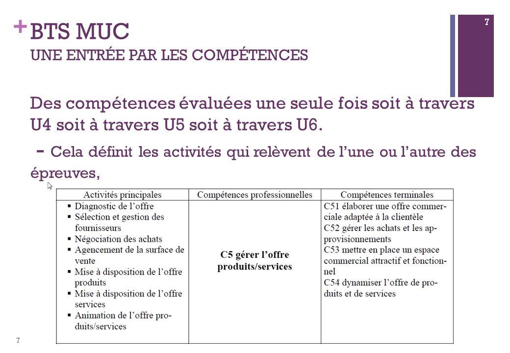 BTS MUC Une entrée par les compétences Des compétences évaluées une seule fois soit à travers U4 soit à travers U5 soit à travers U6. - Cela définit les activités qui relèvent de l'une ou l'autre des épreuves,