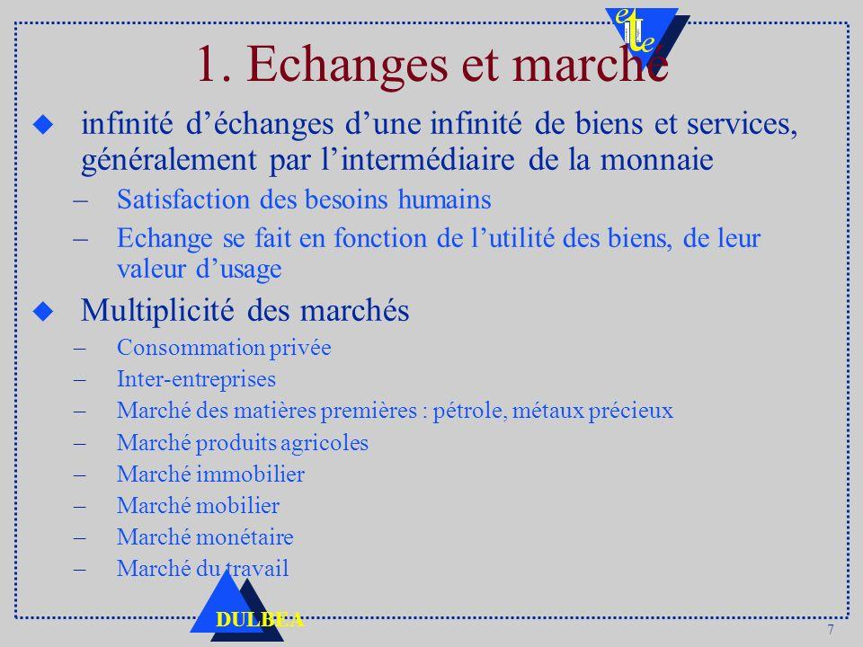 1. Echanges et marché infinité d'échanges d'une infinité de biens et services, généralement par l'intermédiaire de la monnaie.