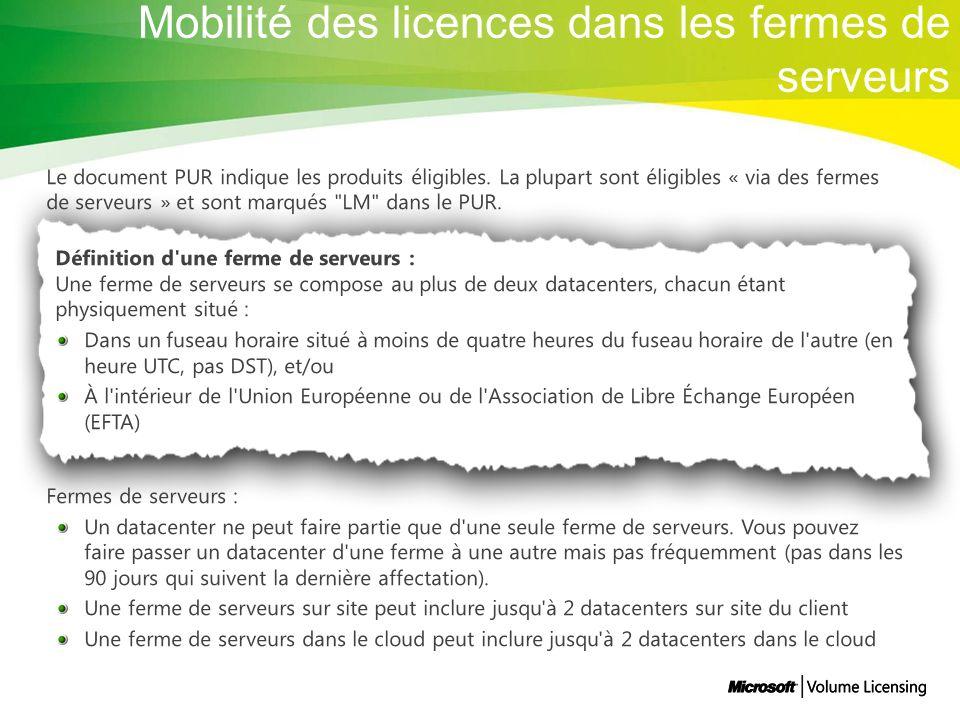 Mobilité des licences dans les fermes de serveurs