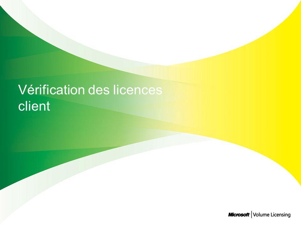 Vérification des licences client