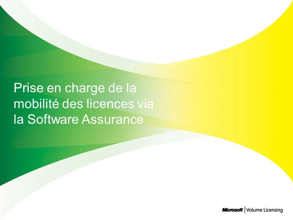 Prise en charge de la mobilité des licences via la Software Assurance