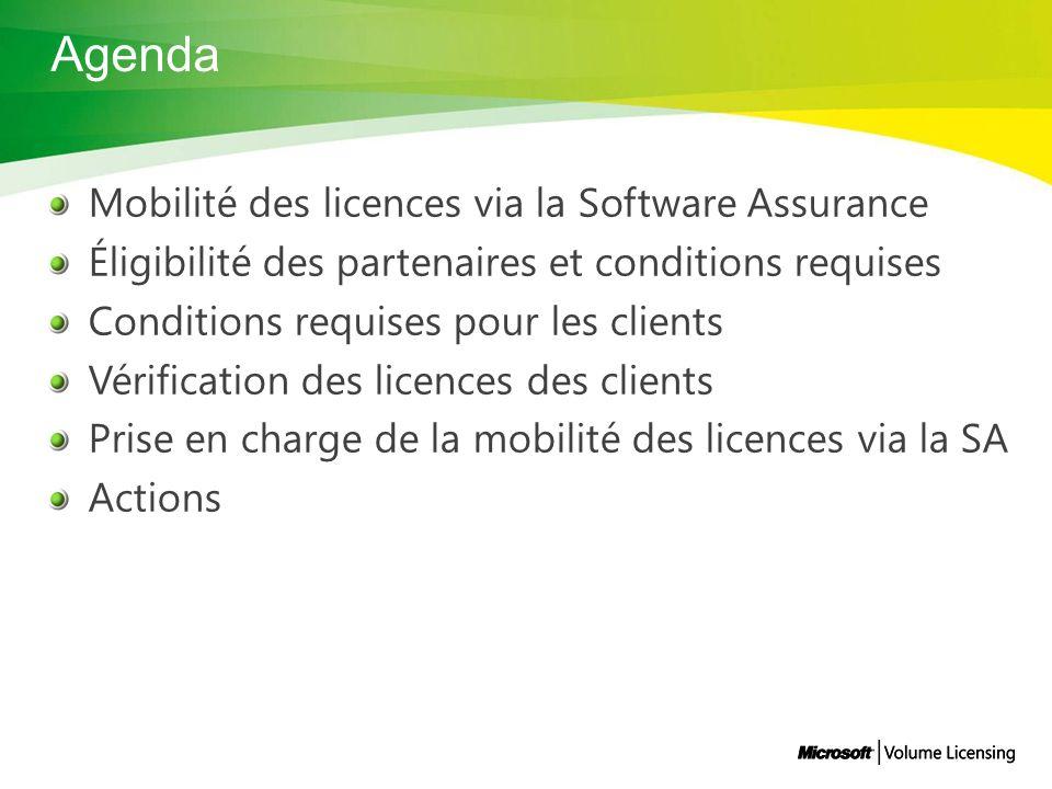 Agenda Mobilité des licences via la Software Assurance