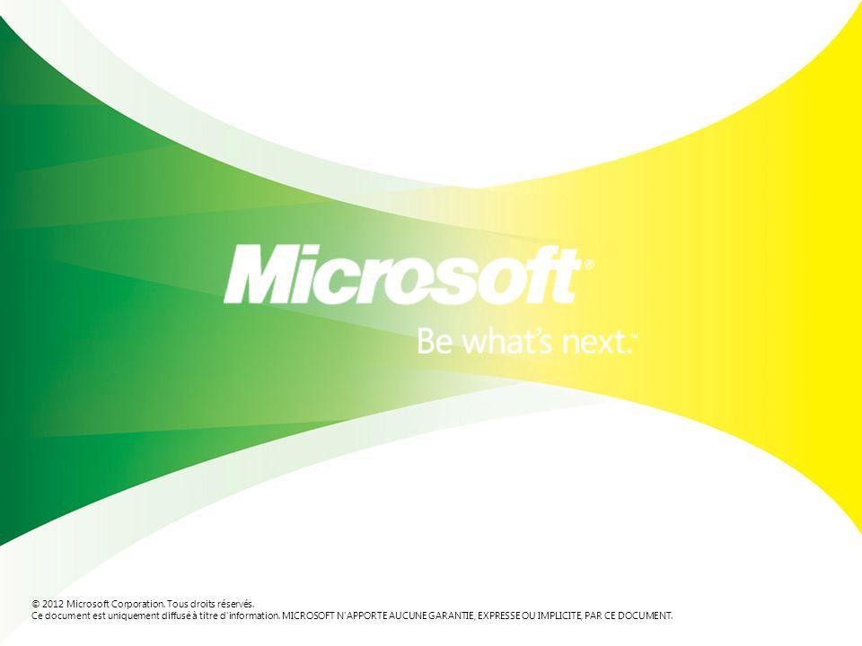 © 2012 Microsoft Corporation. Tous droits réservés.