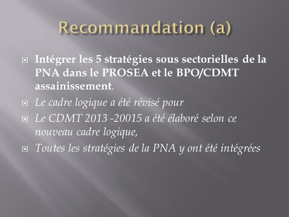 Recommandation (a) Intégrer les 5 stratégies sous sectorielles de la PNA dans le PROSEA et le BPO/CDMT assainissement.