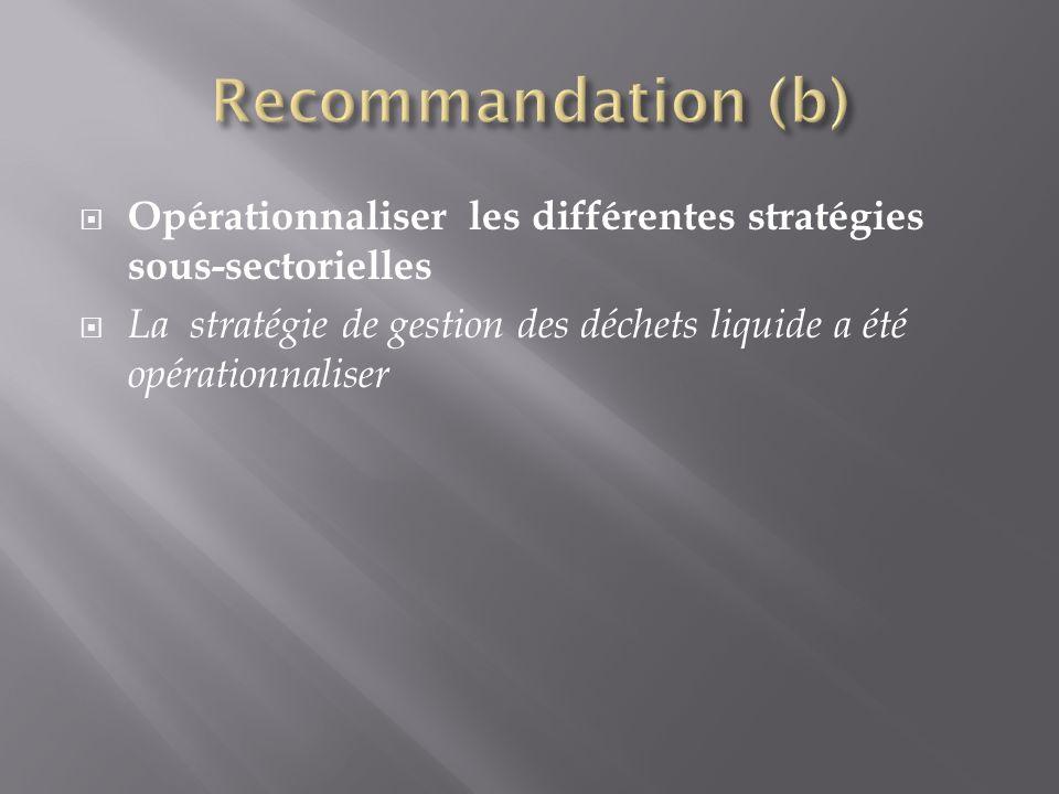 Recommandation (b) Opérationnaliser les différentes stratégies sous-sectorielles.