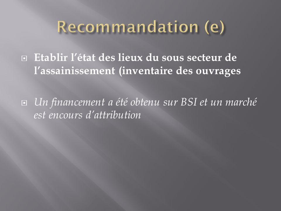 Recommandation (e) Etablir l'état des lieux du sous secteur de l'assainissement (inventaire des ouvrages.