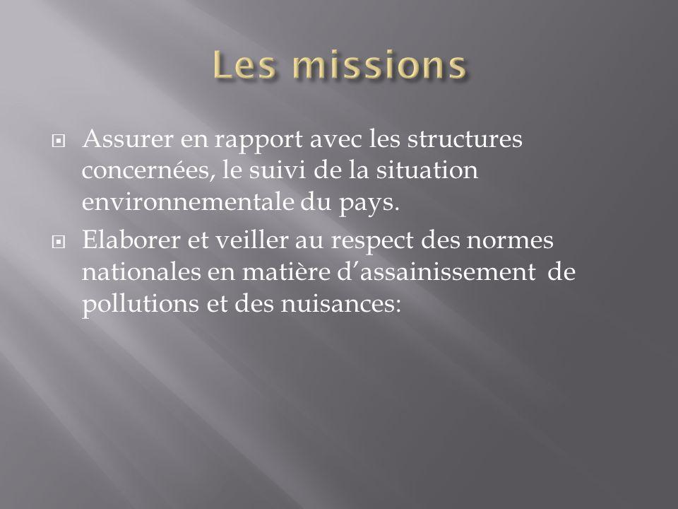 Les missions Assurer en rapport avec les structures concernées, le suivi de la situation environnementale du pays.