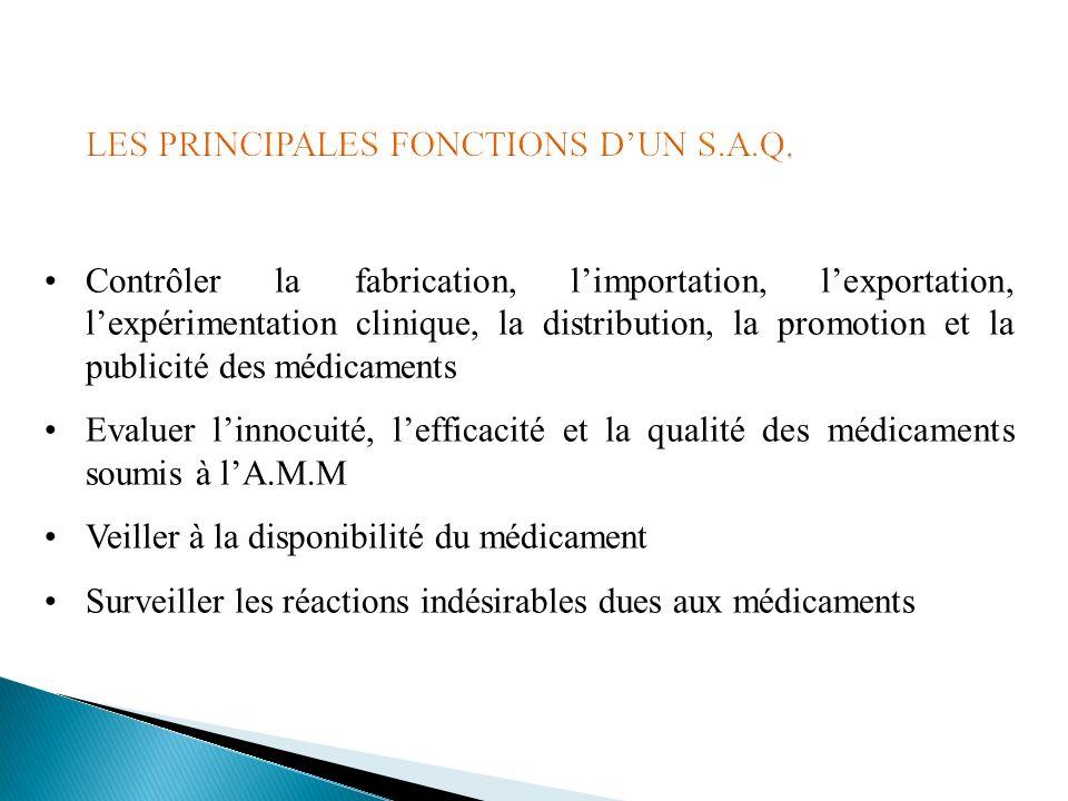 LES PRINCIPALES FONCTIONS D'UN S.A.Q.