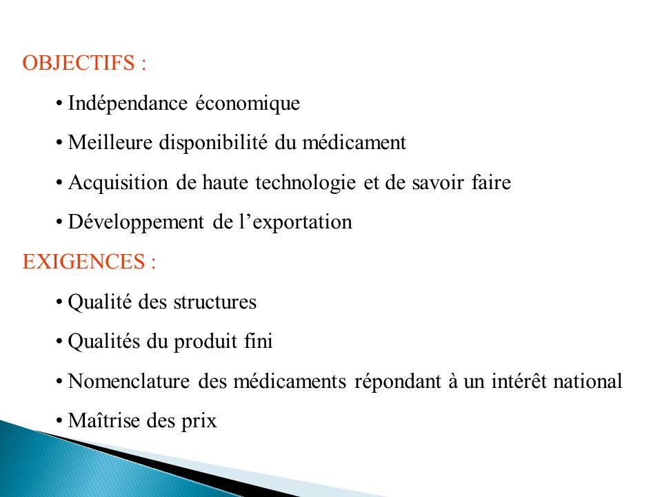 OBJECTIFS : Indépendance économique. Meilleure disponibilité du médicament. Acquisition de haute technologie et de savoir faire.