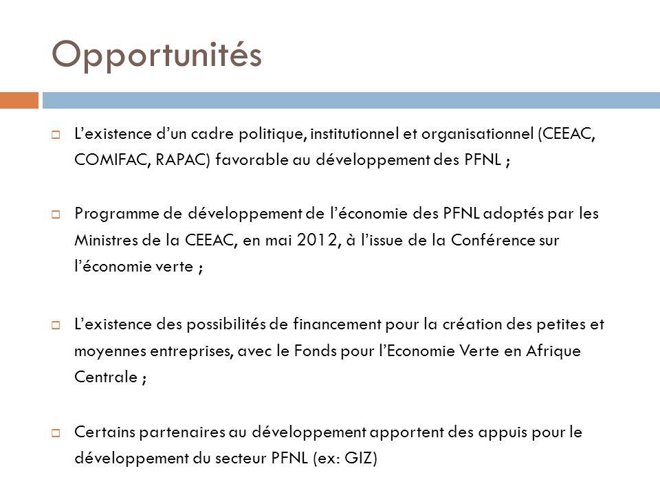 Opportunités L'existence d'un cadre politique, institutionnel et organisationnel (CEEAC, COMIFAC, RAPAC) favorable au développement des PFNL ;