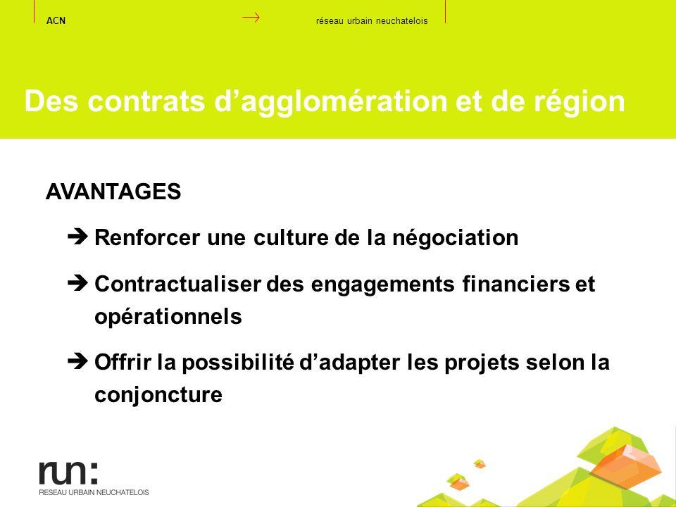 Des contrats d'agglomération et de région