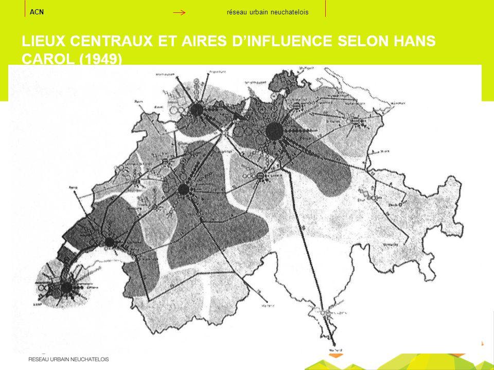 LIEUX CENTRAUX ET AIRES D'INFLUENCE SELON HANS CAROL (1949)