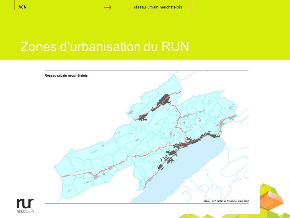 Zones d'urbanisation du RUN