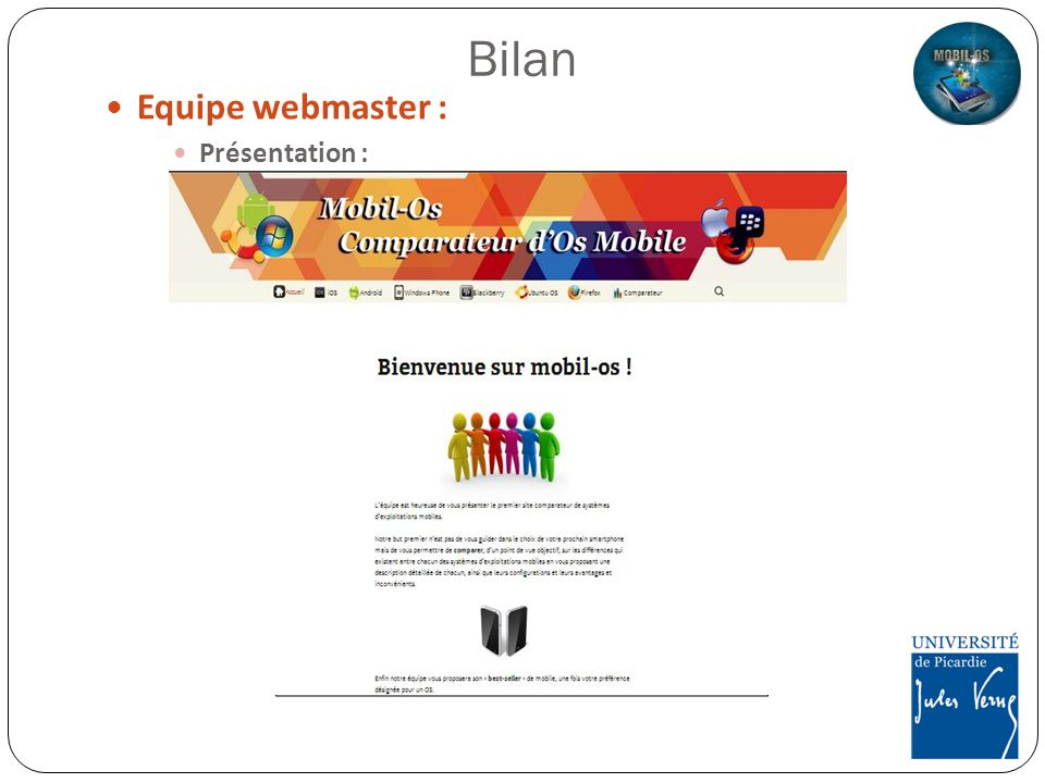 Bilan Equipe webmaster : Présentation :