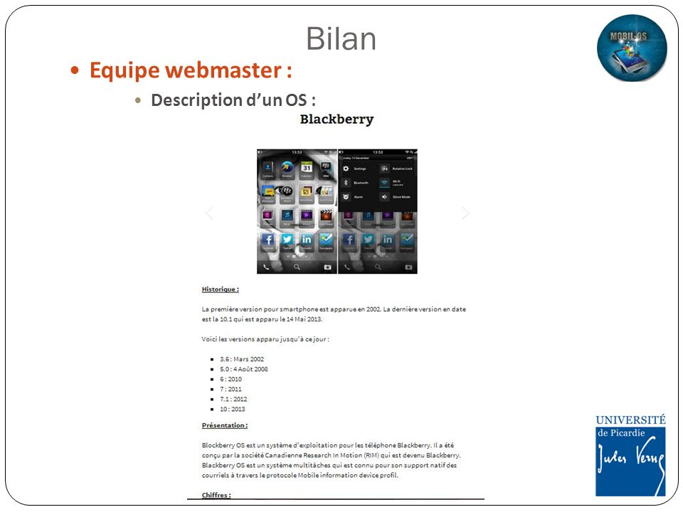 Bilan Equipe webmaster : Description d'un OS :