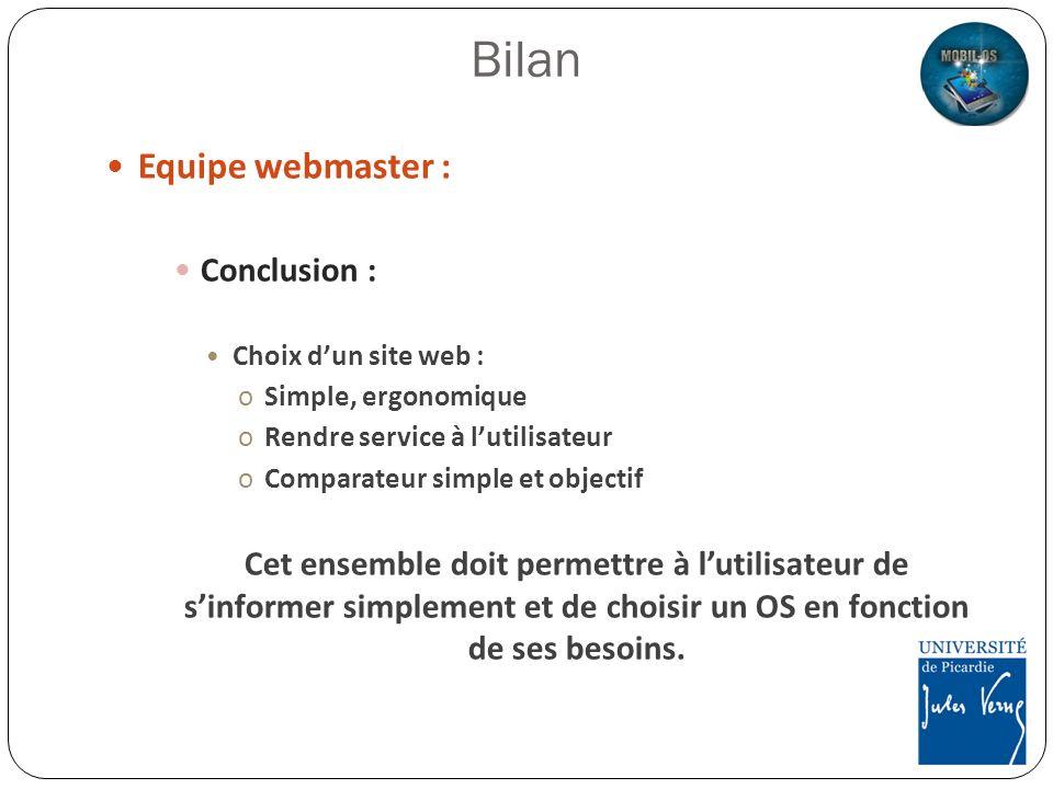 Bilan Equipe webmaster : Conclusion :