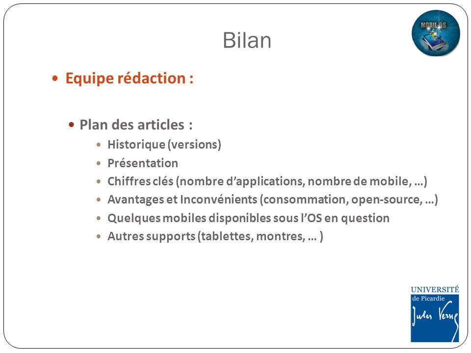 Bilan Equipe rédaction : Plan des articles : Historique (versions)