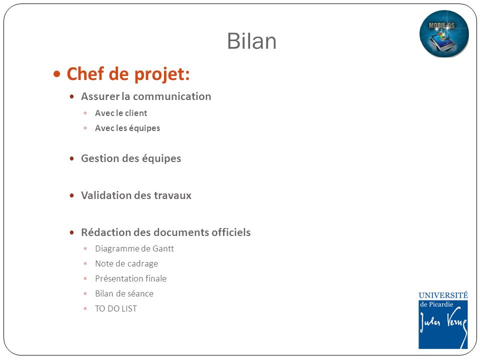 Bilan Chef de projet: Assurer la communication Gestion des équipes