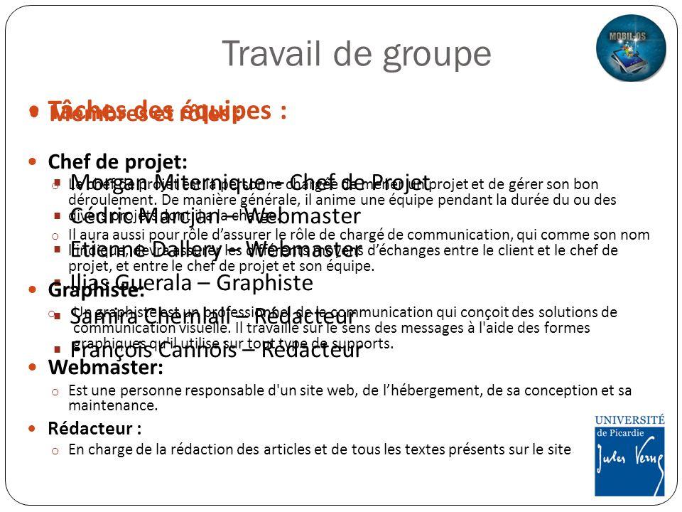 Travail de groupe Tâches des équipes : Membres et rôles :
