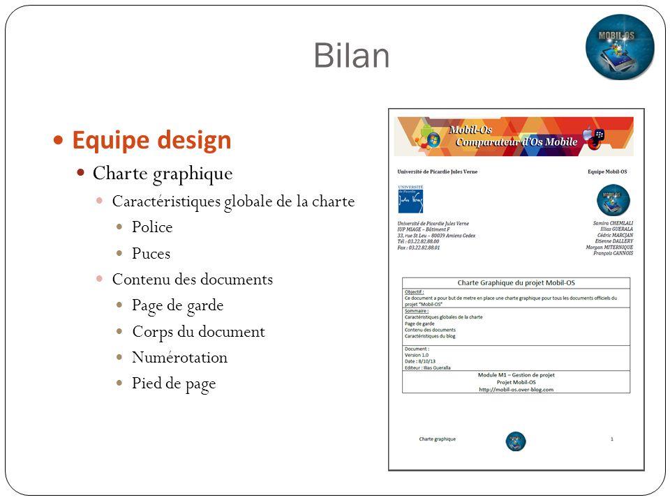 Bilan Equipe design Charte graphique