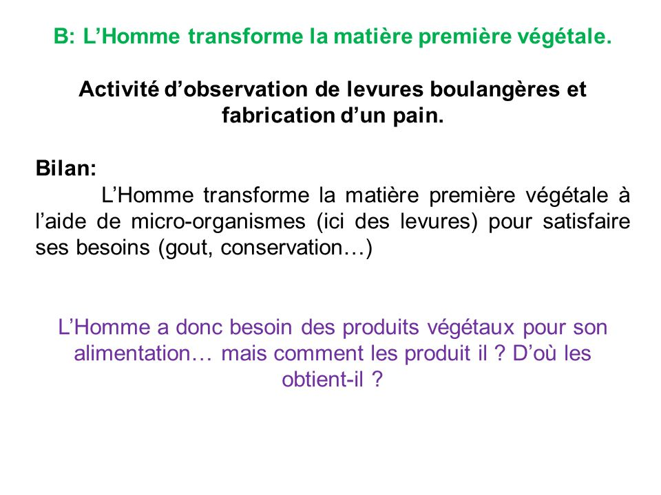 B: L'Homme transforme la matière première végétale.