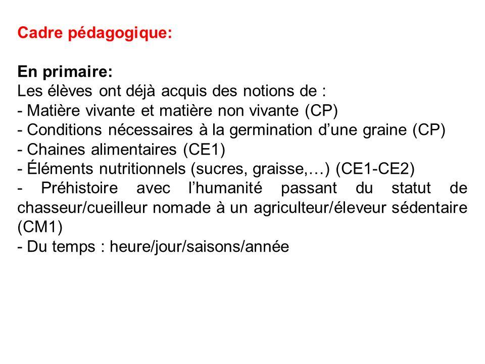 Cadre pédagogique: En primaire: Les élèves ont déjà acquis des notions de : - Matière vivante et matière non vivante (CP)