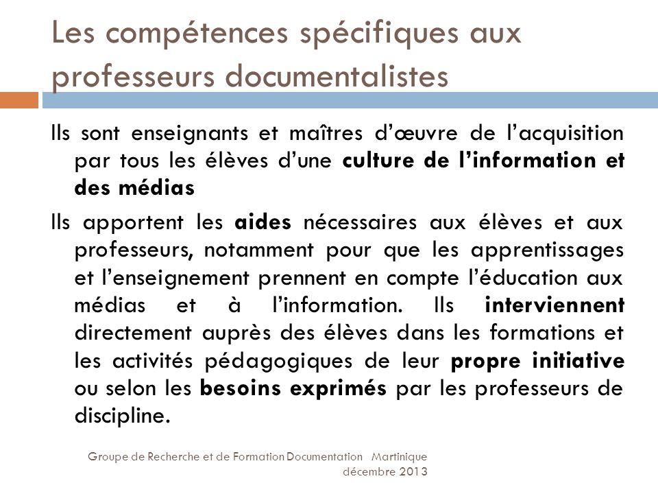 Les compétences spécifiques aux professeurs documentalistes
